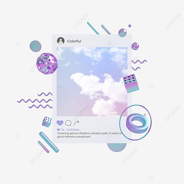blue purple gradient ins social interface 3d element