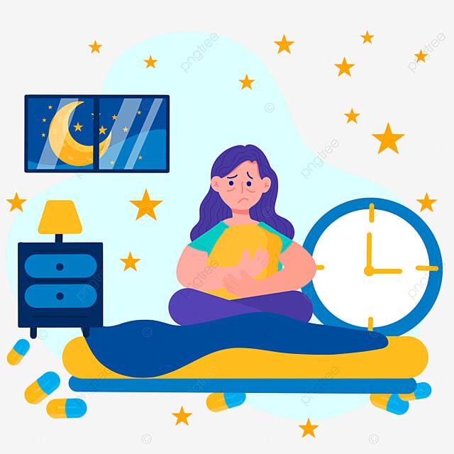 cartoon hand drawn night insomnia alarm clock illustration