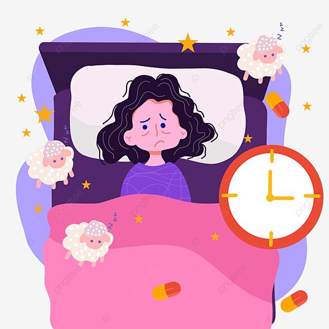 cartoon hand drawn night insomnia clock illustration
