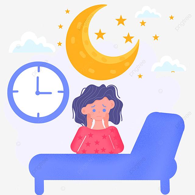 cartoon hand drawn night insomnia crying illustration