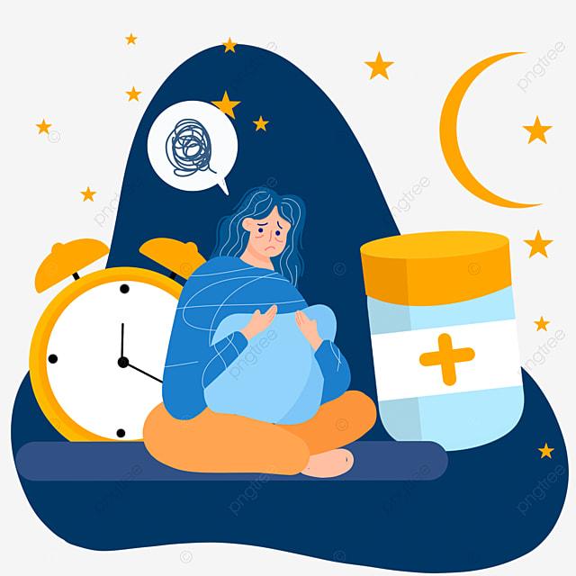 cartoon hand drawn night insomnia taking medicine illustration