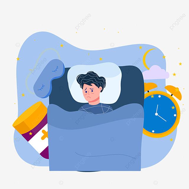 cartoon hand drawn night insomnia time illustration