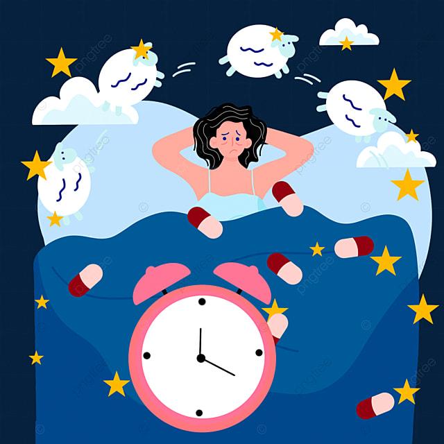 cartoon hand drawn time night insomnia illustration