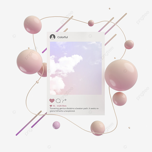 elegant round ball ins social like page 3d elements