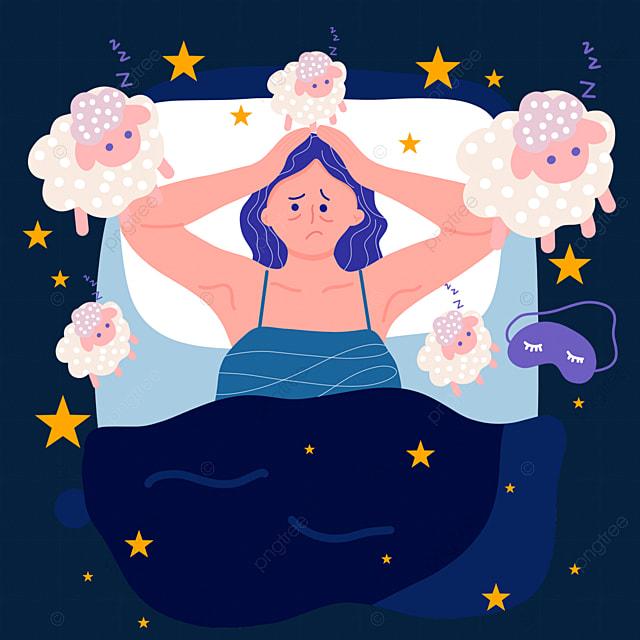 hand drawn cartoon insomnia touching head distressed illustration