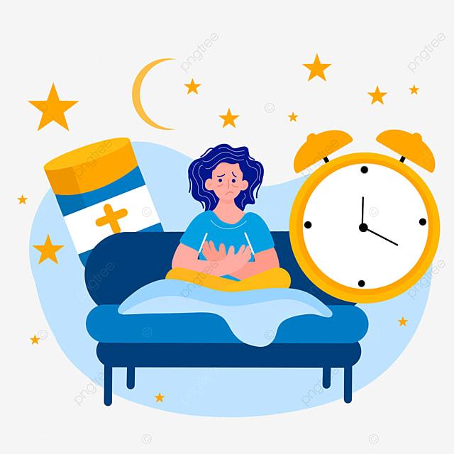 hand drawn cartoon night insomnia alarm clock illustration