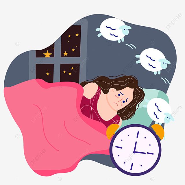 hand drawn cartoon night insomnia counting sheep illustration