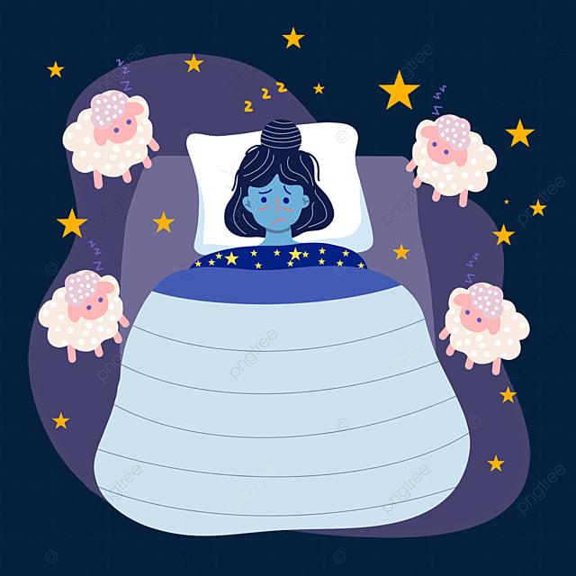 hand drawn cartoon night insomnia pillow illustration