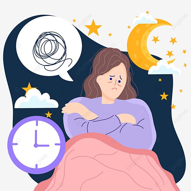 hand drawn cartoon night insomnia time illustration