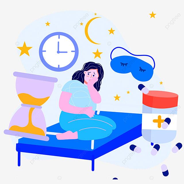 hand drawn cartoon night time insomnia illustration