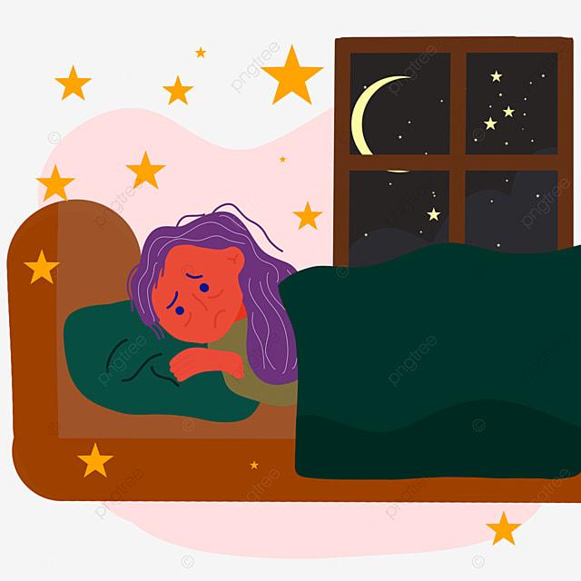 hand drawn night insomnia distress illustration