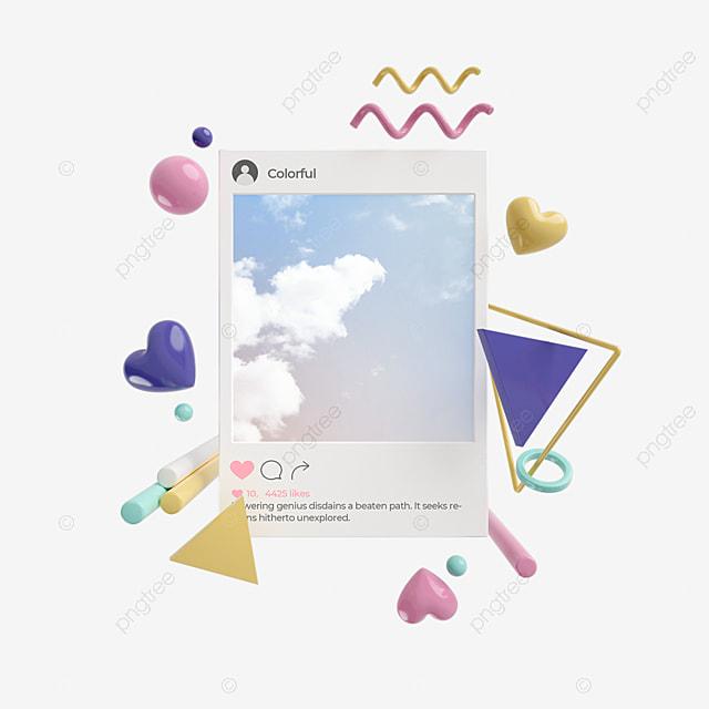 ins color graphics 3d social elements