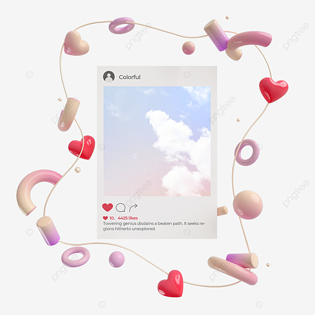 ins interface pink gradient abstract love 3d element