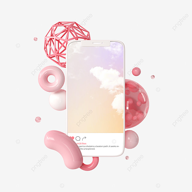pink abstract ins mobile phone interface 3d element