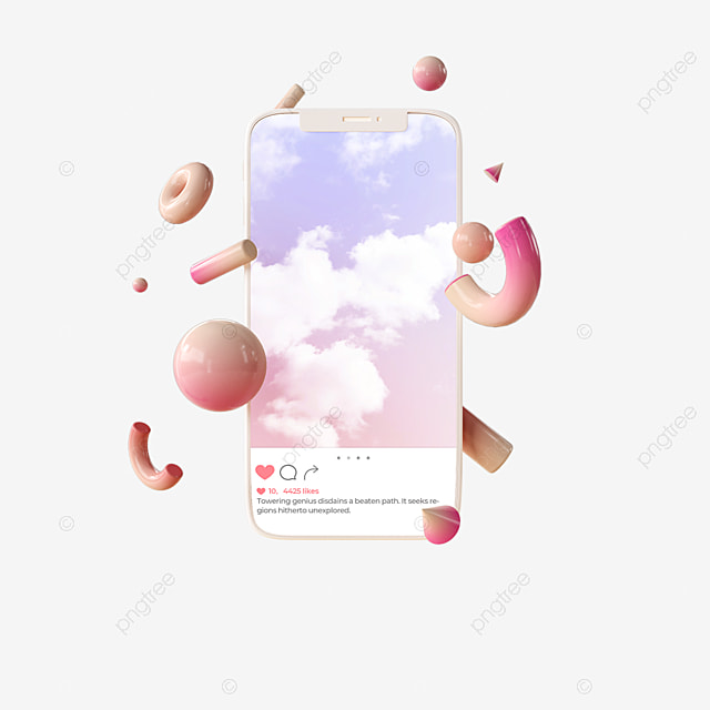 pink sky ins mobile interface 3d element