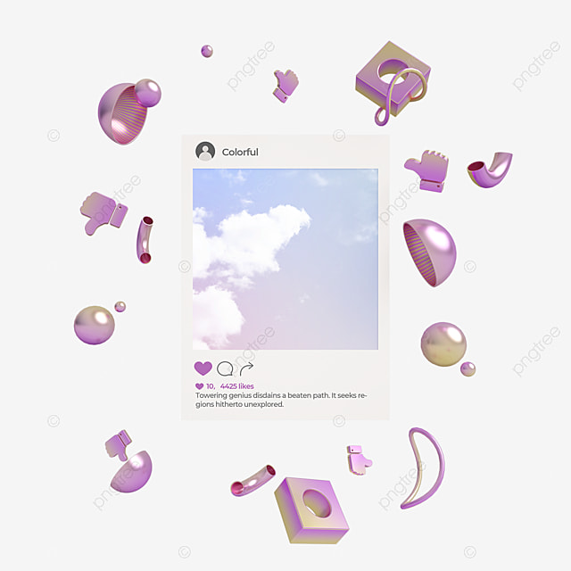purple metal gradient ins social 3d element
