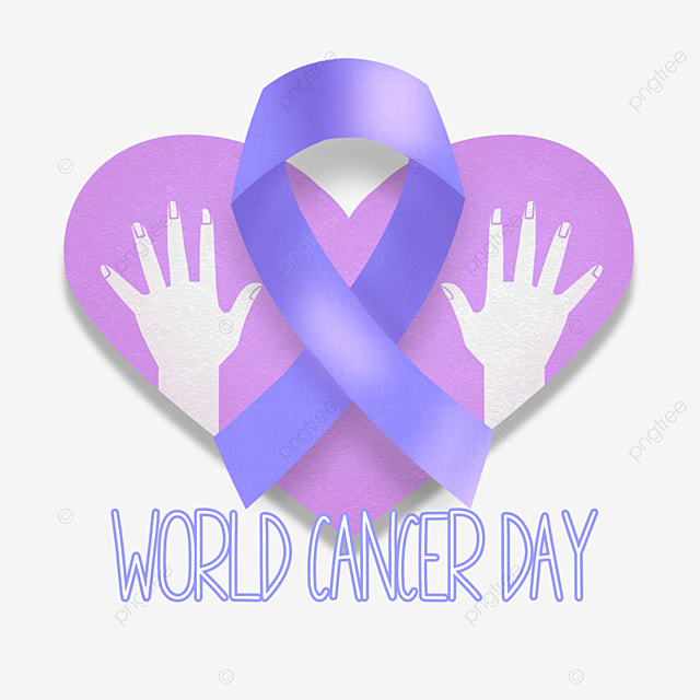 world cancer day purple love ribbon