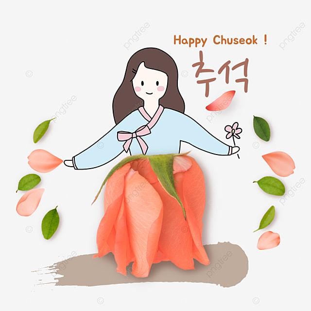 korean mid autumn festival and autumn eve festival flower collage character skirt simple illustration