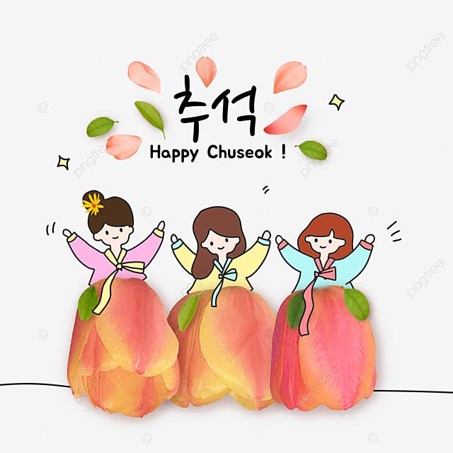 korean mid autumn festival and autumn eve festival flower collage girl skirt illustration