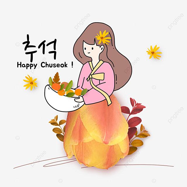 korean mid autumn festival and autumn eve festival flower collage little girl