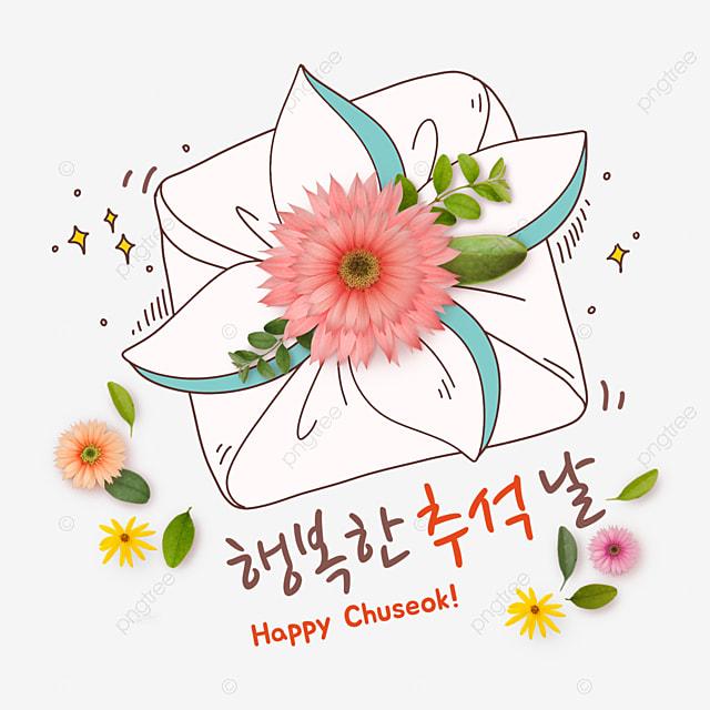korean mid autumn festival and autumn eve festival flower collage sticky gift illustration