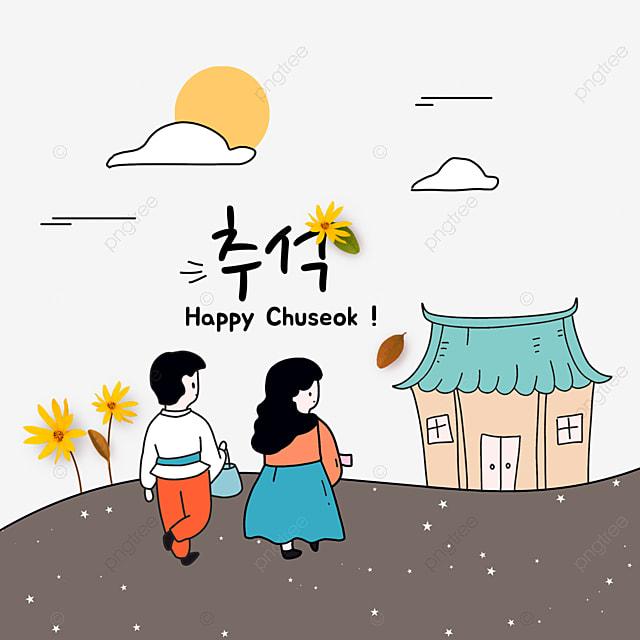 korean mid autumn festival and autumn eve festival stick illustration