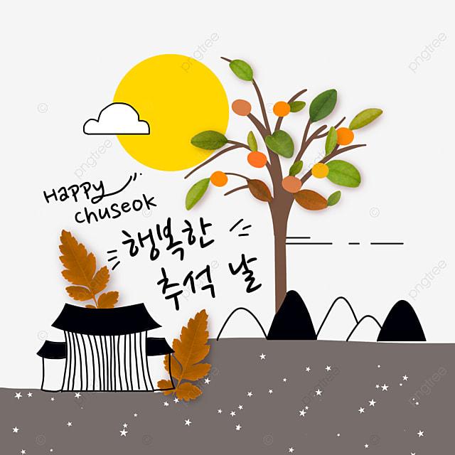 korean mid autumn festival and autumn eve leaf collage illustration