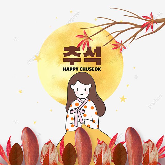 korean mid autumn festival autumn eve festival leaf collage stick girl illustration