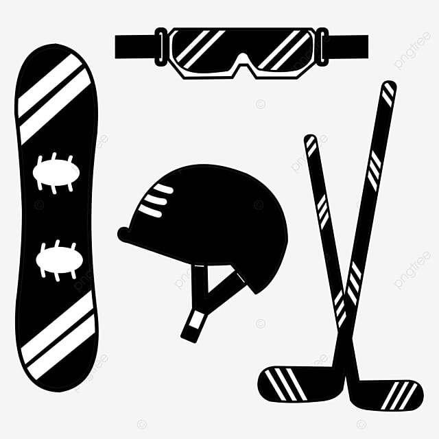 hand drawn black and white ski protective gear silhouette