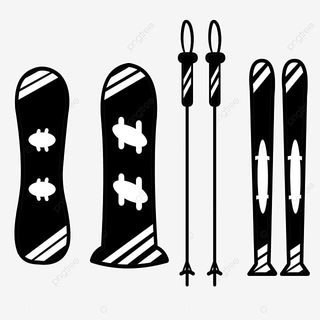 hand drawn black flat ski props group illustration