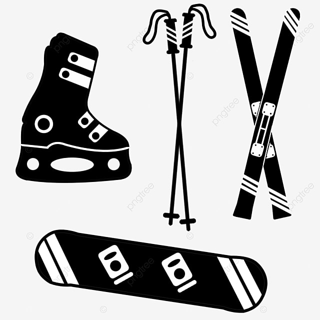 hand drawn black ski equipment