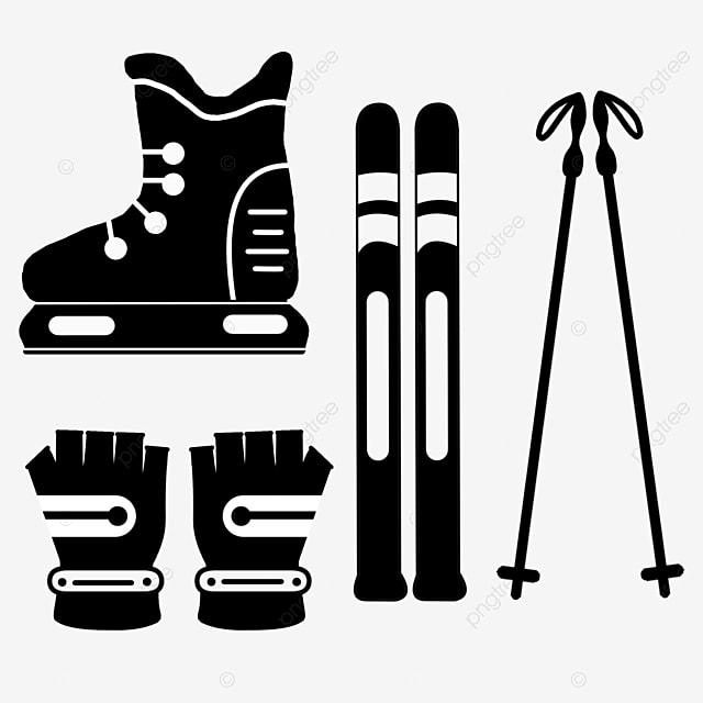 hand drawn flat black silhouette ski props