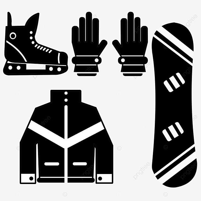 hand drawn flat black ski clothing