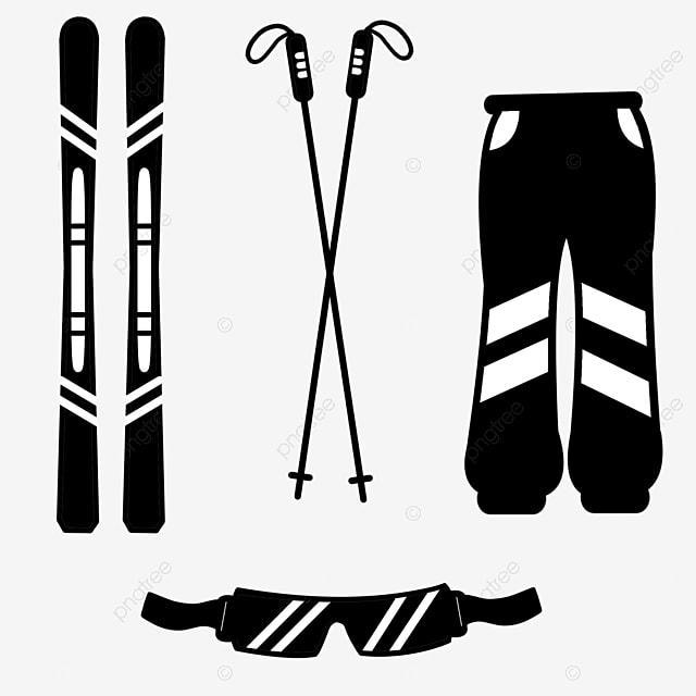 hand drawn ski flat silhouette protective gear