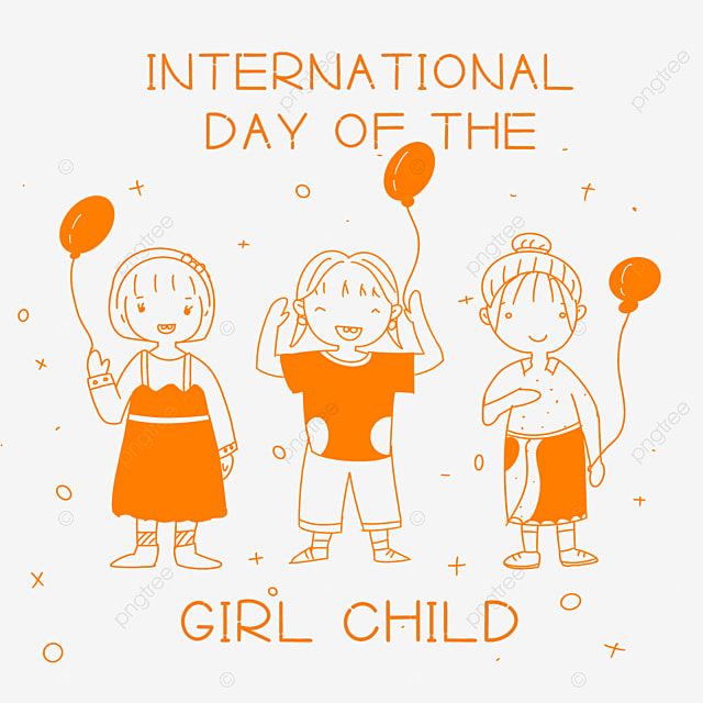 international day of the girl child hand drawn linear color girl balloon