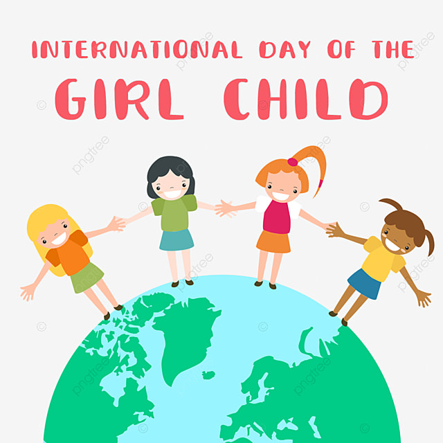 international day of the girl child hand painted girls holding hands around the earth