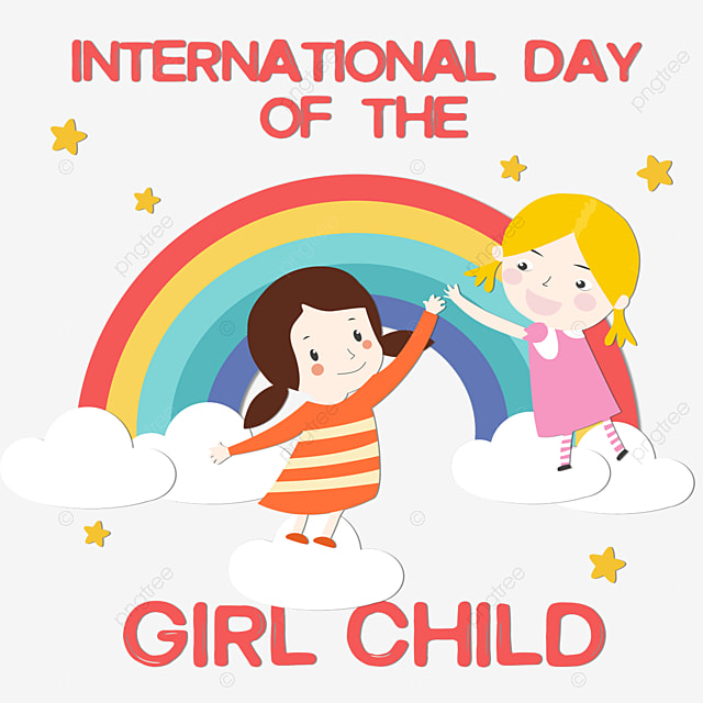 international day of the girl child rainbow hand painted texture holding hands