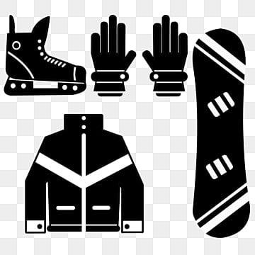 Плоская черная лыжная одежда рисованной, одежда, одежда, Квартира PNG и PSD
