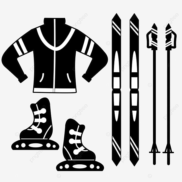 hand drawn flat ski equipment