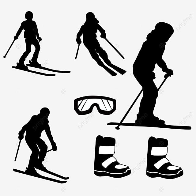 hand drawn winter skier ski equipment