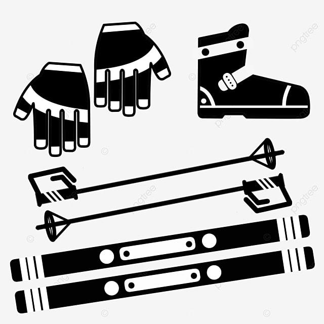 hand drawn flat ski tool set illustration