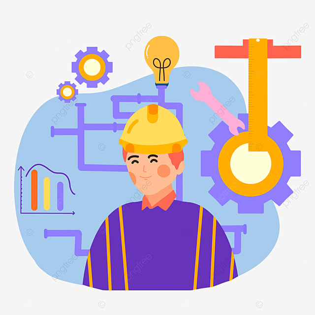 cartoon hand drawn engineer day pipeline illustration