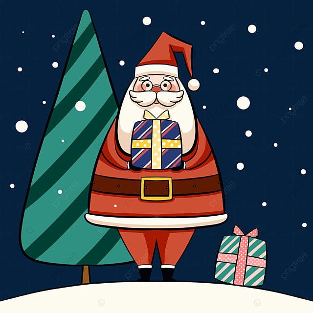 cartoon style santa claus elements
