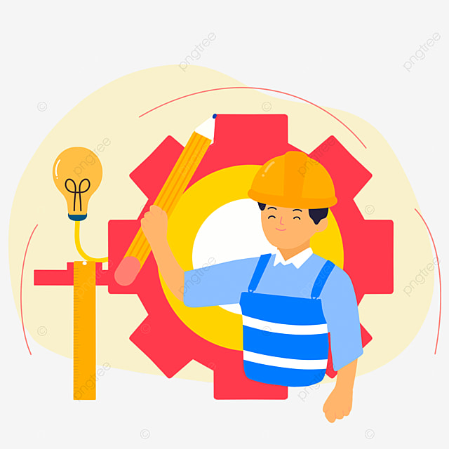 hand drawn cartoon engineer day building illustration