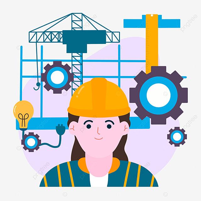 hand drawn cartoon engineer day construction equipment illustration