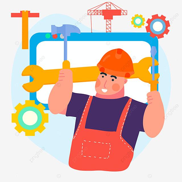 hand drawn cartoon engineer day gear illustration