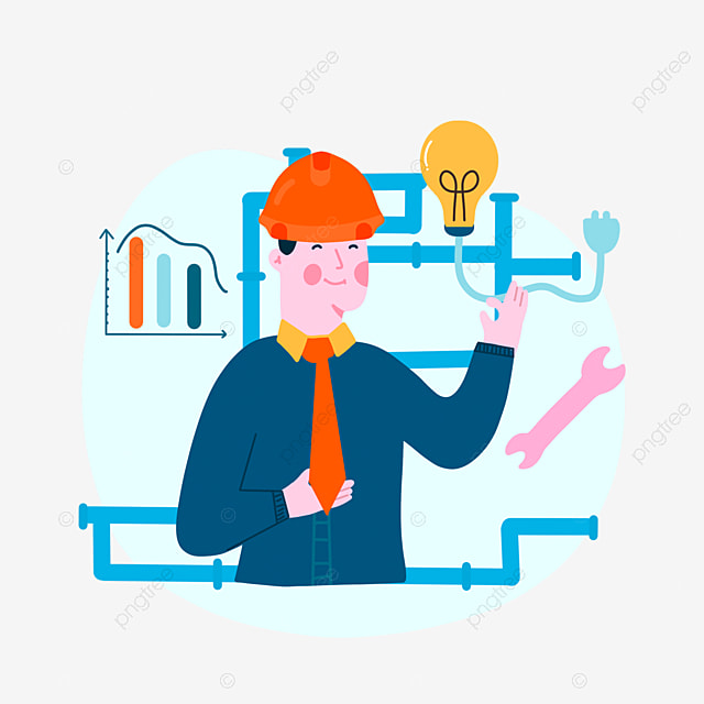 hand drawn cartoon engineer day pipeline illustration