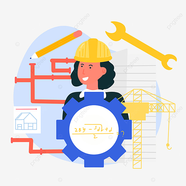 hand drawn cartoon engineer day pipeline inspection illustration