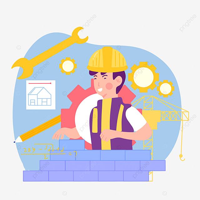 hand drawn engineer day cartoon brick illustration