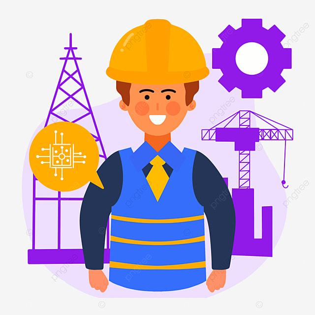 hand drawn purple engineer day architectural illustration